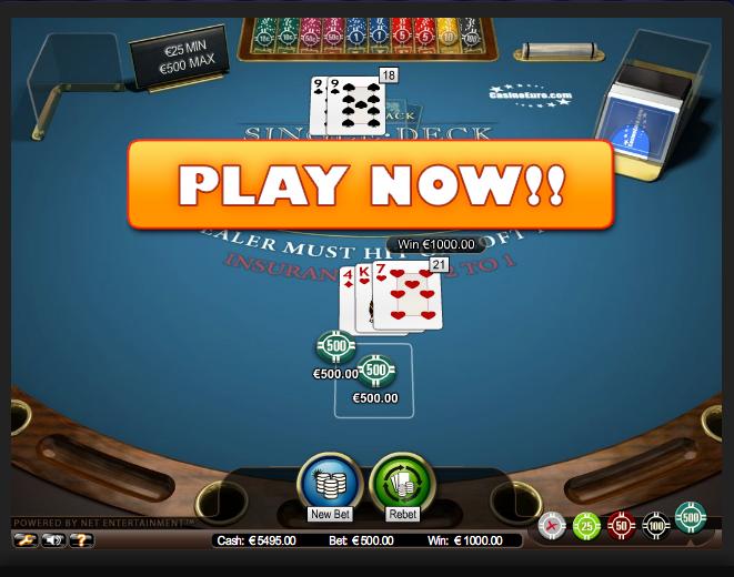 blackjack single deck high netent casino