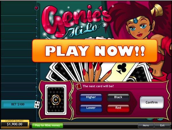 Genies Hi/Low Played Online